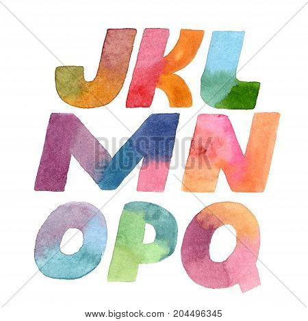 Large raster illustration with colorful gradient letters sequence. Alphabet part from J to Q hand drawn font isolated on white background. Each letter drawn with brush and gradient watercolor ink.