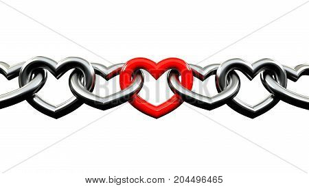 Metallic Chains shaped like a heart Locked with a red one in the middle. strong love. valentine day. isolated in white background
