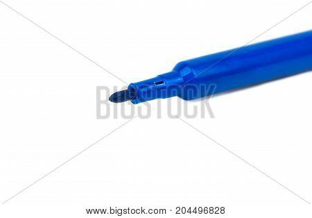 Open blue felt-tip pen on a white background closeup