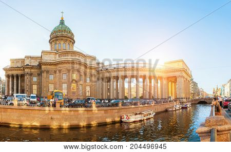 ST PETERSBURG RUSSIA - AUGUST 15 2017. Kazan cathedral and Griboedov channel in St Petersburg Russia. Architecture panoramic landscape of St Petersburg Russia in sunny weather