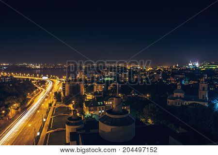 Downtown of Voronezh city in the night, Chernavsky bridge, houses and night streets