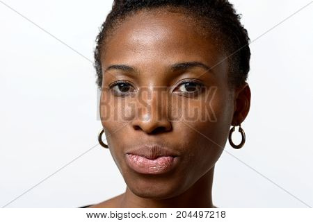Pretty Young African Woman Pouting Her Lips