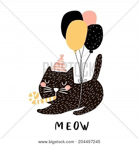Cute cat illustration with balloons. Hand drawn with brush and ink creative kids print. Perfect for apparel nursery decoration cards postersbaby shower poster