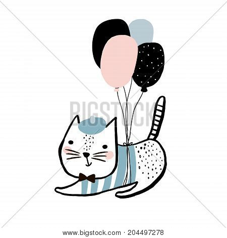 Cute cat illustration with balloons. Hand drawn with brush and ink creative kids print. Perfect for apparel nursery decoration cards postersbaby shower