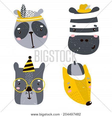 Set of four cute animal faces. Creative animal print zebra dogbearpanda for nurseryapparelcards. Vector Illustration