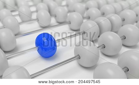 Abacus with blue bead different, 3D illustration