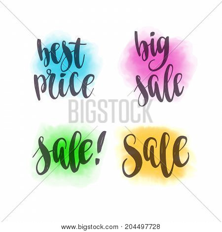 Sale and Best Price. Vector lettering and watercolor spot background for design web banners, posters or social media contests.