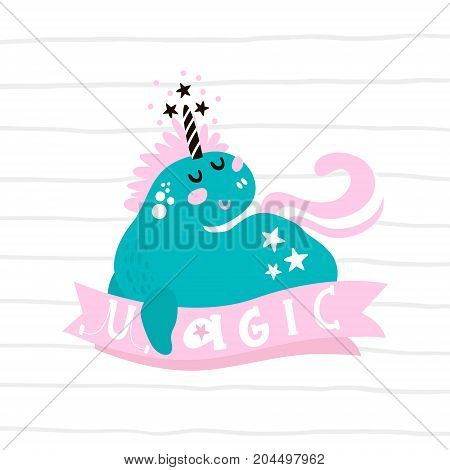 Cute magic unicorn print. Ready childish labelbanner cards stickers poster for kids and baby products.Vector illustration