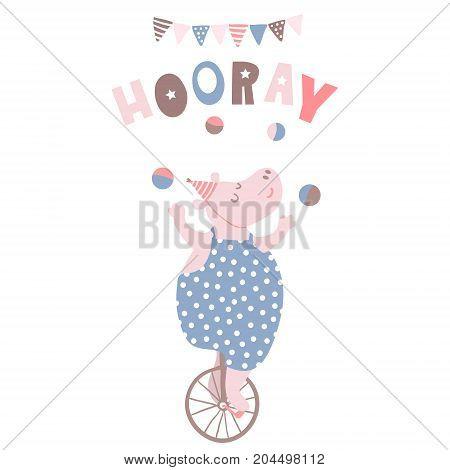 Cartoon hippo circus artist. Hippo on one wheel bicycle. Greeting background.Vector Illustrtion