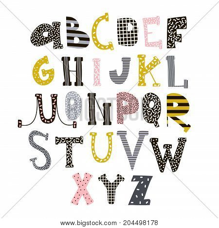 Abstract stylish alphabet . Creative Kids font. Great for education home decor. It Be used for funny t-shirt quotespostercards and kids fashion prints. Vector Illustration