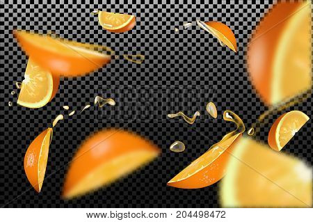 The confluence. Orange slices with juice drops and blur effect. Vector illustration.