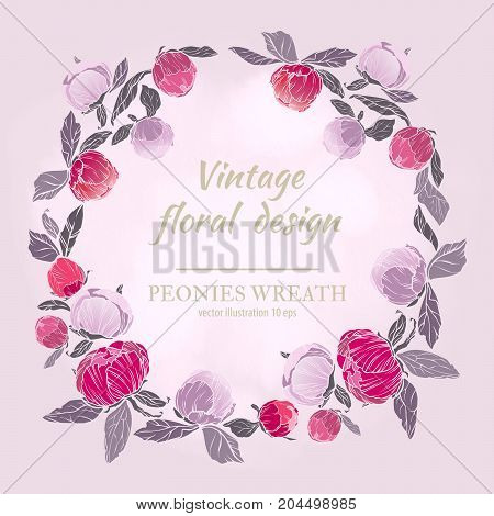 Pink, burgundy red and violet flowers wreath. Vector design card. Botanical style frame with floral plant botany element on light background.