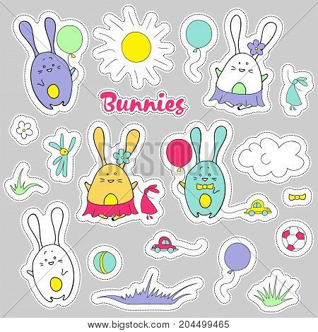 Cute vector stickers of rabbits. Baby design elements for textile paper and prints. Bunnies doodle set. Flat style