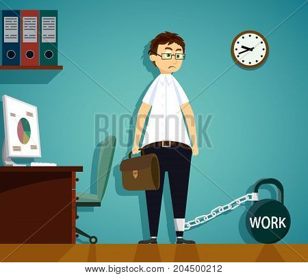 Man Chained To Kettlebell With The Word Work. Workplace In The Office. Stock Vector Cartoon Illustra