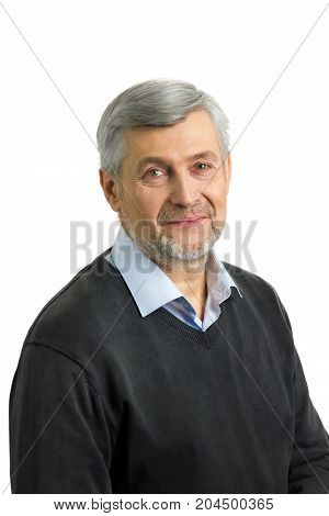 Mature man with sincere eyes on white background. Portrait of positive grey hair man isolated on white.