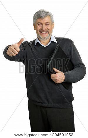 Joyful mature man raised thumb up. Happy and smile senior man raised his thumb up on white background.
