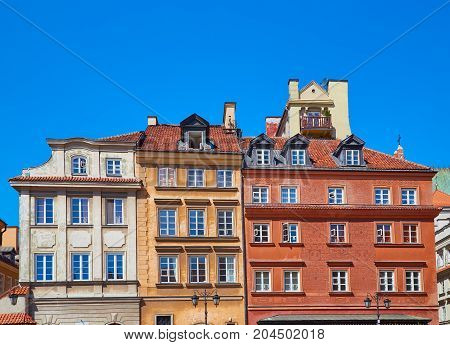 Three Buildings In The Old Town In Warsaw