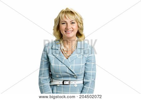 Attractive white-skin woman on white background. Portrait of smiling mature woman standing on white background.
