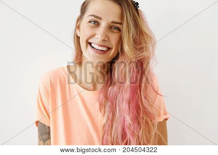 People, Lifestyle, Youth And Happiness Concept. Isolated Studio Portrait Of Joyful Charming Student
