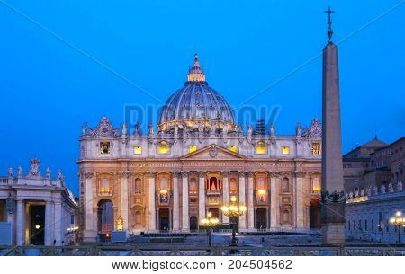The Saint Peter's Basilica at night, Rome, Italy.