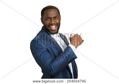 Black smiling business company owner. Happy confident afro american executive director isolated on white background.