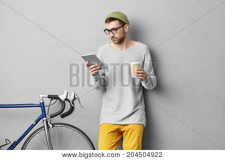 Stidoo Portrait Of Attractive Young Caucasian It Specialist With Stlyish Stubble Drinking Coffee And