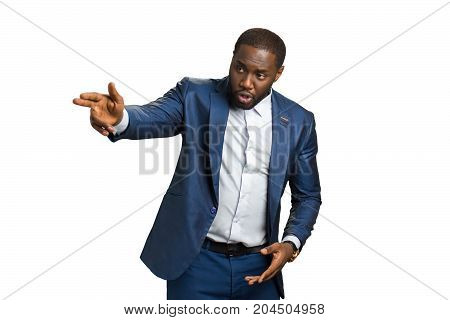 Businessman hand forefinger indicating forward. Business owner speaking about future strategy with gestures. Leader of corporate company with emotional speech on white background.