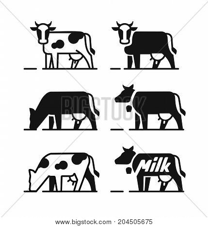 Dairy cow symbols for your milk products. Vector black icons