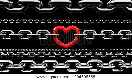3D rendering of Metallic Chains Locked with a red heart. red Heart link in a metallic chain isolated on black background. strong love