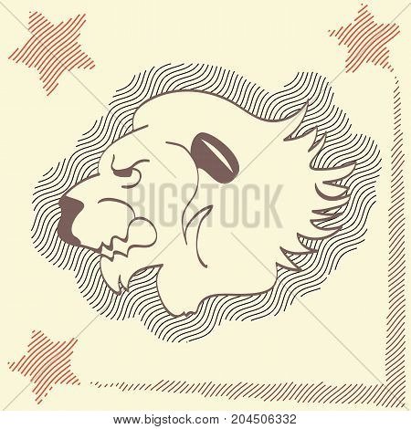 Icon head lion yellow background with stars. Beautiful predator king of beasts different application. Vector illustration.