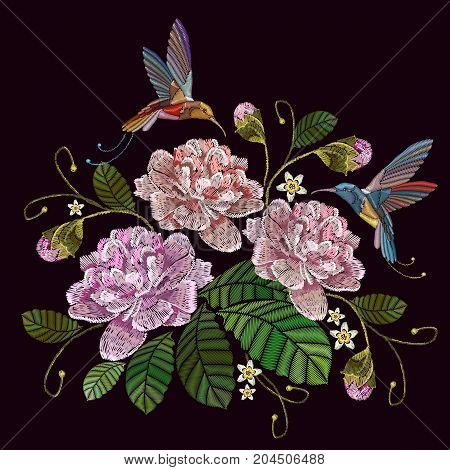 Embroidery peonies and humming bird. Fashionable template for clothes textiles t-shirt design. Beautiful peonies flowers and humming bird classical embroidery