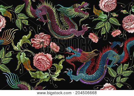 Embroidery chinese dragons and flowers peonies seamless pattern. Classical embroidery asian dragons and beautiful peonies seamless pattern. Art dragons t-shirt design. Clothes textile design template