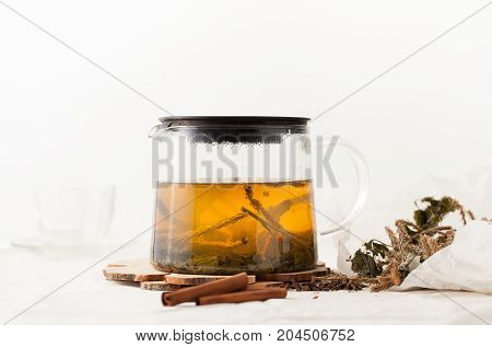 Herbal Tea From Pine Buds With Cinnamon And Raspberry Leaves