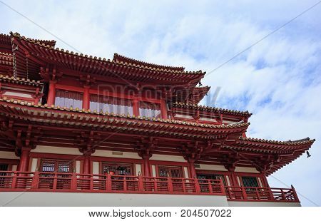 close up Buddha Tooth Relic Temple at China town Singapore