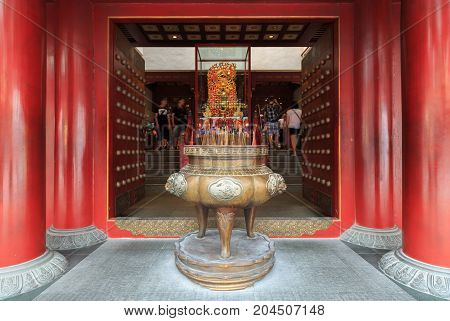 Incense Burner Of The Buddha Tooth Relic Temple In Chinatown, Singapore