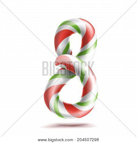 8, Number Eight Vector. 3D Number Sign. Figure 8 In Christmas Colours. Red, White, Green Striped. Classic Xmas Mint Hard Candy Cane. New Year Design. Isolated