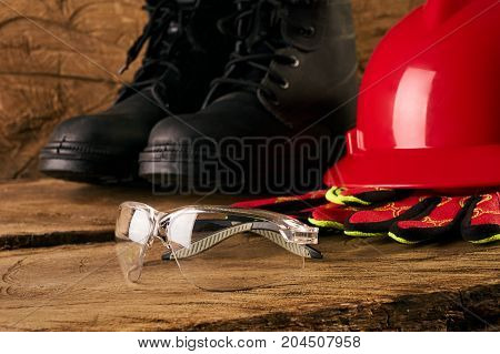 Safety Glass, Boots, Glove And Hard Hat Or Helmet