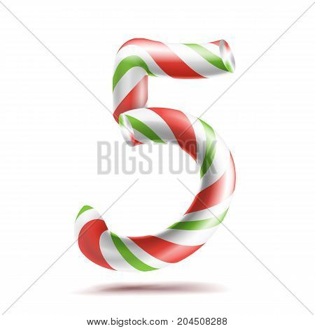 5, Number Five Vector. 3D Number Sign. Figure 5 In Christmas Colours. Red, White, Green Striped. Classic Xmas Mint Hard Candy Cane. New Year Design. Isolated