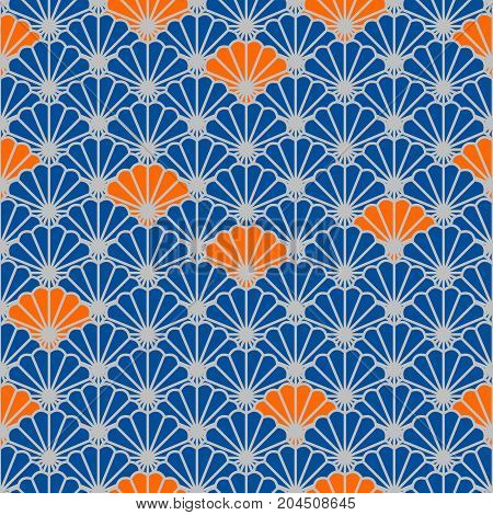 Japanese fan vector seamless pattern in blue and orange color style. Japan seashell inspired floral design.