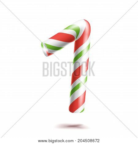 1, Number One Vector. 3D Number Sign. Figure 1 In Christmas Colours. Red, White, Green Striped. Classic Xmas Mint Hard Candy Cane. New Year Design. Isolated