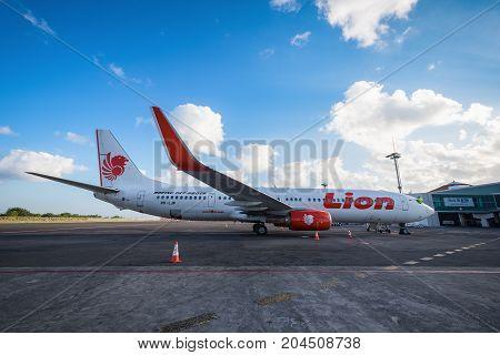 Bali Indonesia - July 23 2017: Thai Lion Air Boeing 737 Parking at Ngurah Rai International Airport (Denpasar International Airport)