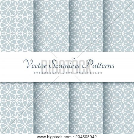 Set of grey stencil ornaments, seamless lace patterns in neutral color for scrapbook paper design