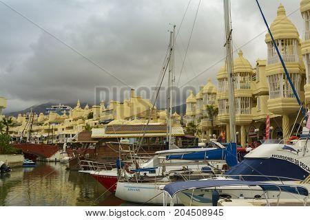 Benalmadena Spain August 30 2017: Luxury boats and apartments in Marina Bay Benalmadena Costa del Sol Malaga province Andalucia Spain.