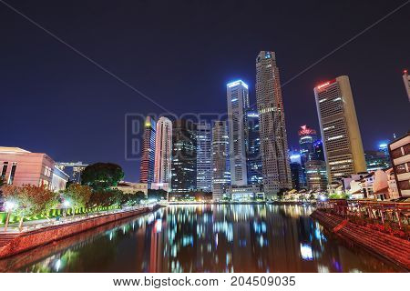 Cityscape Of Singapore City, View From Elgin Bridge