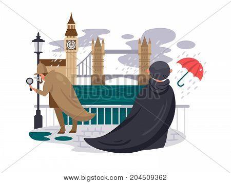 London river embankment. People in rain on waterfront. Vector illustration