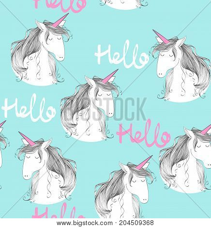 Magic cute unicorn. Vector blue seamless pattern