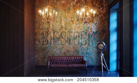 Interior with leather sofa and luxury lamp. Textured background. Retro lamp on a tripod
