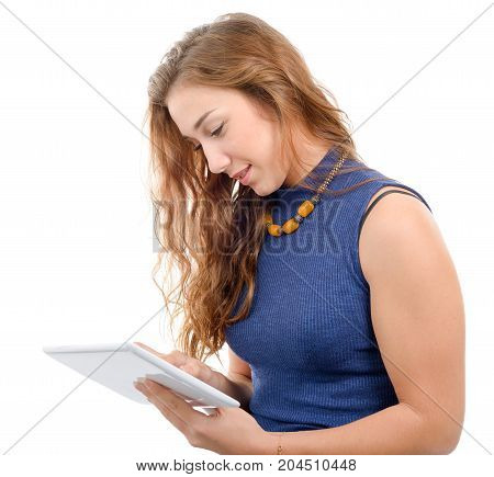 a young woman with smiling face holding tablet isolated on white background