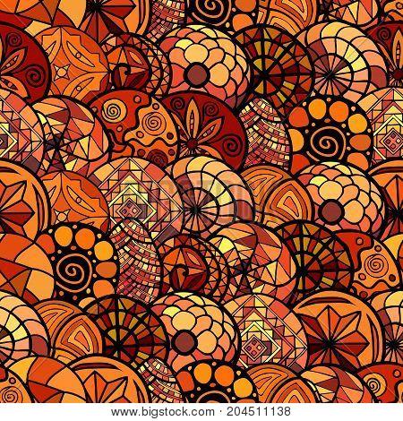 hand drawn warm vector ethnic seamless pattern