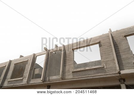 Prefabricated building isolated on a white background.